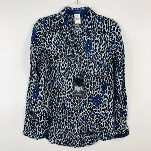 Wrangler Rock 47 Leopard Print Snap Button Top